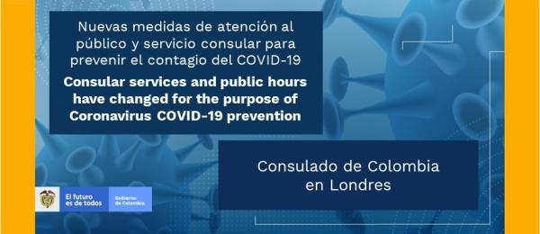 Nuevas medidas especiales de atención al público y servicio consular para prevenir el contagio del COVID-19 en el Consulado de Colombia