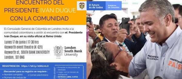 El Consulado de Colombia en Londres invita al Encuentro con el Presidente Iván Duque y el Canciller Holmes Trujillo, en el marco de su primera visita oficial