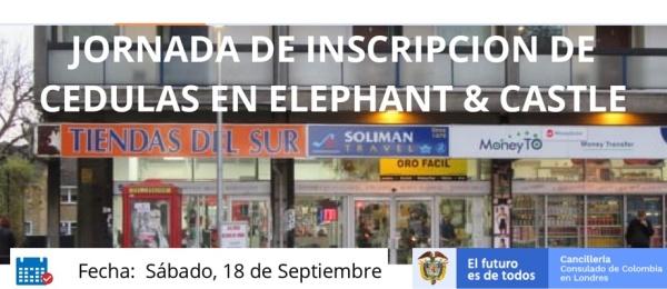 Jornada de inscripción de cédulas en Elephant & Castle el 18 de septiembre de 2021