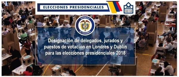 Designación de delegados, jurados y puestos de votación en Londres y Dublín para las elecciones presidenciales 2018
