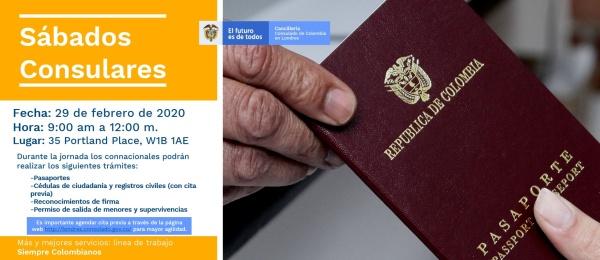 Consulado de Colombia en Londres realizará una jornada de Sábado Consular el 29 de febrero de 2020