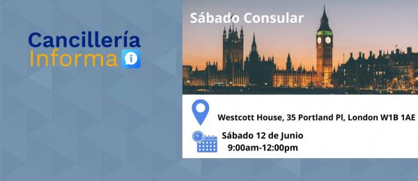 Consulado de Colombia en Londres realizará una jornada de Sábado Consular, el 12 de junio de 2021