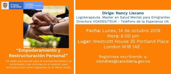 El Consulado de Colombia en Londres invita al taller de atención psicosocial: 'Empoderamiento y Restructuración Personal'